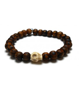 Βραχιόλι ανδρικό skull με καφέ ματ ξύλινες χάντρες