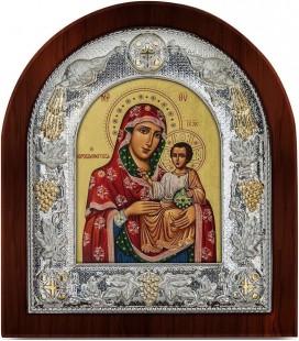 Ασημένια Εικόνα Παναγία Ιεροσολυμίτισσα Μεταξοτυπία 101-G