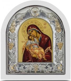 Ασημένια Εικόνα Παναγία Γλυκοφιλούσα Μεταξοτυπία 102-G