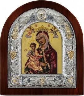 Ασημένια Εικόνα Παναγία Βρεφοκρατούσα Μεταξοτυπία 104-G