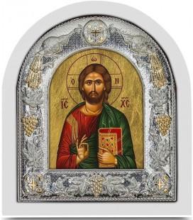 Ασημένια Εικόνα Χριστός Κλειστό Βιβλίο Μεταξοτυπία 105-G