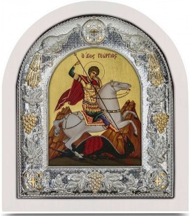 Ασημένια Εικόνα Άγιος Γεώργιος Μεταξοτυπία 108-G