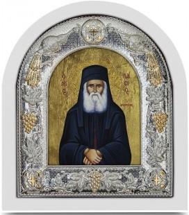 Ασημένια Εικόνα Άγιος  Παΐσιος Μεταξοτυπία 112-G