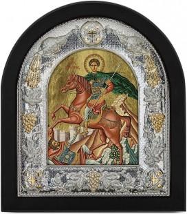Ασημένια Εικόνα Άγιος  Δημήτριος Μεταξοτυπία 113-G