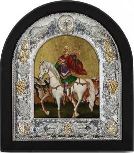 Ασημένια Εικόνα Άγιος  Μηνάς Μεταξοτυπία 121-G