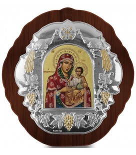 Ασημένια Εικόνα Παναγία Ιεροσολυμίτισσα Μεταξοτυπία 401-G