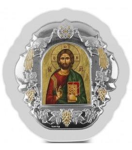 Ασημένια Εικόνα Χριστός Κλειστό Βιβλίο Μεταξοτυπία 405-G