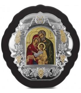 Ασημένια Εικόνα Αγία Οικογένεια Μεταξοτυπία 406-G