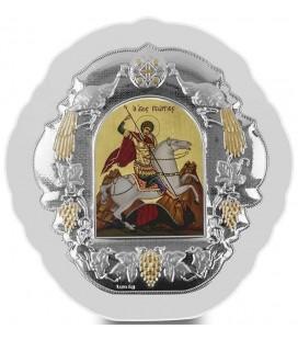 Ασημένια Εικόνα Άγιος Γεώργιος Μεταξοτυπία 408-G
