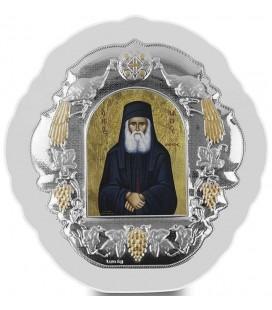 Ασημένια Εικόνα Άγιος  Παΐσιος Μεταξοτυπία 412-G