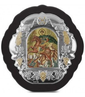 Ασημένια Εικόνα Άγιος  Δημήτριος Μεταξοτυπία 413-G