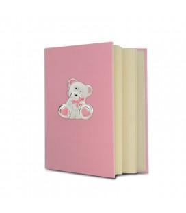 Ασημένιο Αλμπουμ Αρκουδακι 20x25 Ροζ
