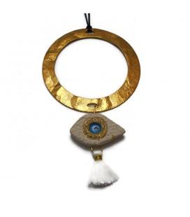 Κολιέ χειροποίητο με μεταλλικό κύκλο και κεραμικό μάτι