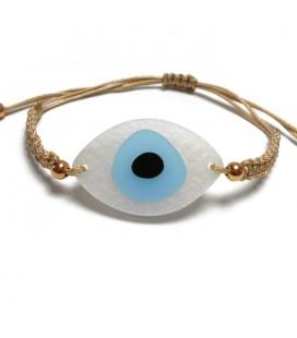 Βραχιόλι μάτι ασήμι 925 μακραμέ