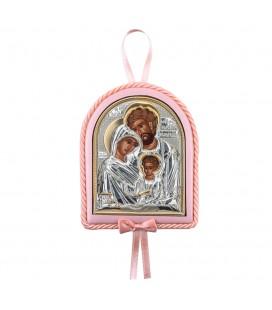 Παιδικό εικονάκι Αγία Οικογένεια με μουσική ροζ