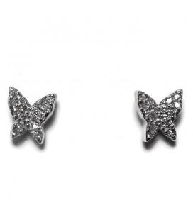 Σκουλαρίκια πεταλούδα με ζιργκον από ασήμι 925