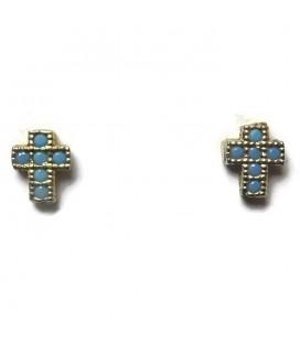 Σκουλαρίκια σταυρός από ασήμι 925 SK4251