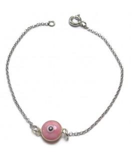 Βραχιόλι παιδικό ματάκι ροζ από ασήμι 925