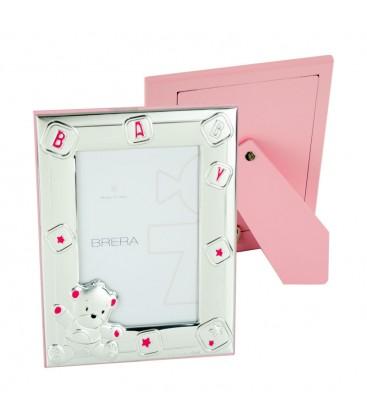 Ασημένια Κορνίζα BABY 10x15 Ροζ