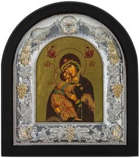 Ασημένια Εικόνα Παναγία του Βλαντιμήρ Μεταξοτυπία