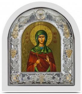 Ασημένια Εικόνα Αγία Μαρίνα Μεταξοτυπία