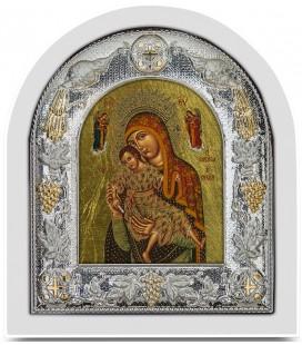 Ασημένια Εικόνα Παναγία η Ελεούσα του Κύκκου Μεταξοτυπία