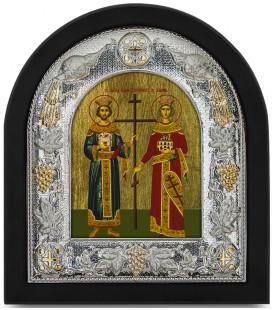 Ασημένια Εικόνα Άγιος Κωνσταντίνος και Αγία Ελένη Μεταξοτυπία