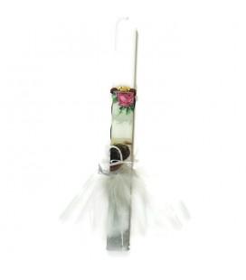 Λαμπάδα χειροποίητη με καθισμένη μπαλαρίνα δώρο βραχιόλι σε μακραμέ πλέξη