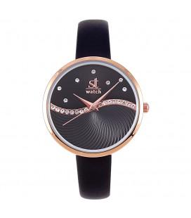 Season Time WATCH 2176-1 Metropolitan Crystals Black Leather Strap