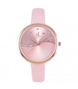 SEASON TIME WATCH 2176-2 METROPOLITAN CRYSTALS PINK LEATHER STRAP