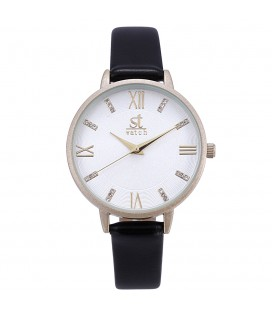 Season Time WATCH Madison Crystals Black Leather Strap 2178-1