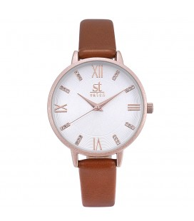 Season Time WATCH Madison Crystals Brown Leather Strap 2178-2