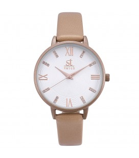 Season Time WATCH Madison Crystals Beige Leather Strap 2178-3