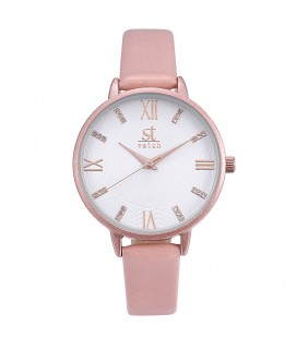 Season Time WATCH Madison Crystals Pink Leather Strap 2178-5
