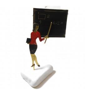 Χειροποίητο διακοσμητικό δασκάλα με κόκκινη μπλούζα επιτραπέζιο