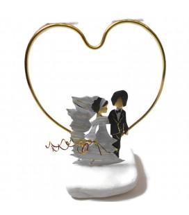 Χειροποίητο διακοσμητικό νύφη και γαμπρός με καρδιά επιτραπέζιο