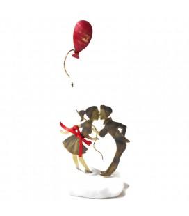 Χειροποίητο διακοσμητικό ζευγάρι με κόκκινο μπαλόνι επιτραπέζιο