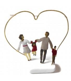 Χειροποίητο διακοσμητικό οικογένεια με καρδιά  επιτραπέζιο
