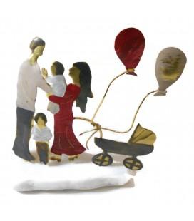 Χειροποίητο διακοσμητικό οικογένεια με καρότσι και μπαλόνια  επιτραπέζιο