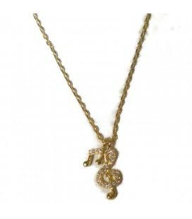 Κολιέ κλειδί του σολ και νότα από επιχρυσωμένο ασήμι 925