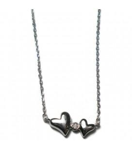 Κολιέ καρδιές από ασήμι 925 KL8359