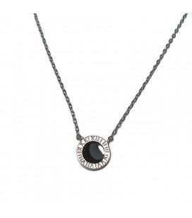Κολιέ κύκλος με μαύρο από ασήμι 925