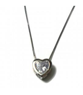 Κολιέ πέτρα ζιργκόν σε σχήμα καρδιάς από ασήμι 925