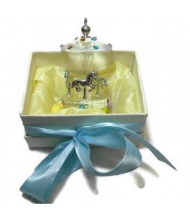 Μπομπονιέρα καρουζέλ γυάλινο σε κουτί πολυτελείας MPOB8706