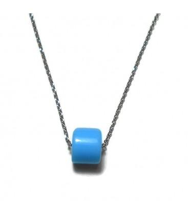 Κολιέ με γαλάζια χάντρα από ασήμι 925