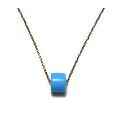 Κολιέ με γαλάζια χάντρα από επιχρυσωμένο ροζ χρυσό ασήμι 925