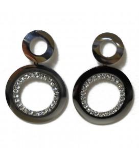 Σκουλαρίκια κρεμαστά κύκλοι από ατσάλι SK9513