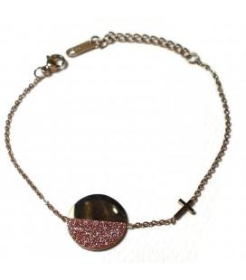 Βραχιόλι κύκλος με σταυρό από επιχρυσωμένο ροζ χρυσό ατσάλι