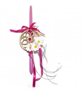 Λαμπάδα χειροποίητη ονειροπαγίδα με λουλούδια με δώρο βραχιόλι 0187