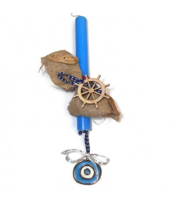 Λαμπάδα  χειροποίητη  με ξύλινη τιμονιέρα  και δώρο γούρι μάτι